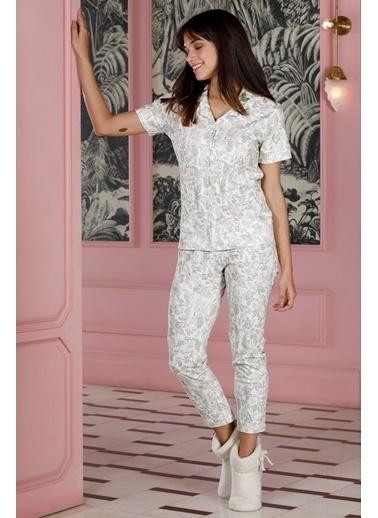 Hays Kadın Baskılı Penye Midi Pijama Takımı Yeşil